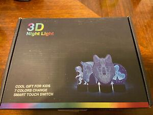 Dinosaur 3D Night Light USB Desk Lamp 7 Changeable Color LED. New Open Box.
