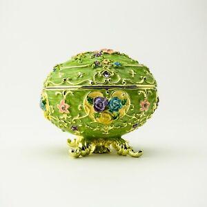 Green Faberge Egg Trinket Box  Handmade by Keren Kopal Austrian  Crystals