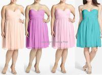 Donna Morgan 100% Silk Chiffon Strapless Prom Formal Evening Dress Plus Sizes