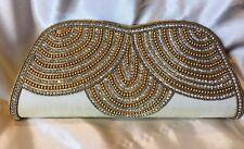 Cream Ivory Gold Diwali Handbag Clutch Wallet Bollywood Indian Dress Purse Silk