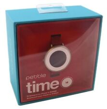 Pebble Time Round 14mm Band Android or iOS Smartwatch - Silver/Red Leather Watch