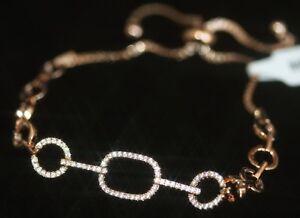 Sparkling 14K Rose Gold GF With Created Tiny Diamond Bracelet - Adjustable
