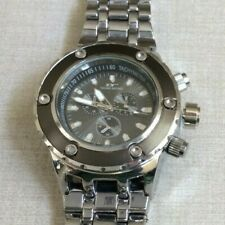 Tecno Sport Oversize Silver Mens Watch Round Gunmetal Dial Silver Linked Band!