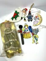 Vintage Christmas Ornament Lot of 8 Angel Topper Ceramic Wood Hand Painted