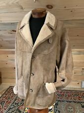 Vintage Natural Shearling Sheepskin Rancher Coat Notched Collar Men's 42 or L