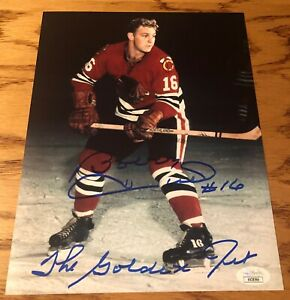 BOBBY HULL Autographed Signed Blackhawks #16 8x10 Photo Golden Jet insc. JSA COA