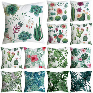 PILLOWCASE LEAF FLORAL PRINT HOME DECOR ARMCHAIR COUCH CUSHION COVER FOR OFFICE