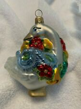 Kurt Adler Polonaise: Goose with Flowers and Fruit Glass Ornament.