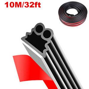 Car 32Ft Black 2-Layer Rubber Seal Door Edge Guard Molding Trim Protectors Strip