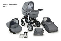 Baby Pram Buggy Stroller + Car Seat, Travel System 3in1, Natural LINEN Fabrics