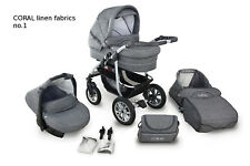 Baby Pram Buggy Stroller Car Seat CORAL Travel System 3in1 Natural LINEN Fabrics