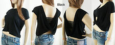 TWIST DRAPE BACK TOP SHORT ROLL SLEEVES SIZE 6 8 10 12 14 16 COLOURS