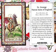 Saint St. George with Prayer - Gold Trim - Paperstock Holy Card