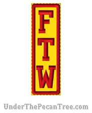 """RED AND GOLD FTW Biker Vest Patch 1.4"""" x 4.5"""" Harley Motorcycle MC Red on Gold"""