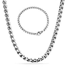 4mm/60cm Set cadena Belcher Rolo COLLAR + pulsera acero inoxidable plata