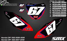 Custom number plates backgrounds Honda CRF 450 2017-2019 CRF250 2018-19 graphics