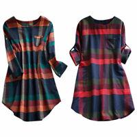 Plus Size Women Plaid Check Long Sleeve Tunic Dress Ladies Casual Long Blouse