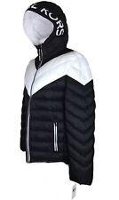 NWT Michael Kors MK Logo Black & White  Hooded Puffer Coat Jacket Men's M