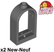 Lego - 2x window fenêtre 1x2x2 2/3 rounded top arch gris f/d b gray 30044 NEUF