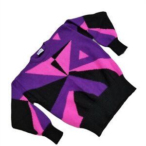 Meister Vintage Sweater Wool Retro Ski Womens Large Pink Purple Black Pullover