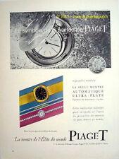 PIAGET MONTRE AUTOMATIQUE ULTRA PLATE publicité 1960 AD