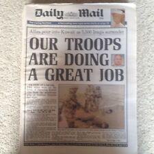 Daily Mail newspaper 25th February 1991 Gulf War Kuwait etc