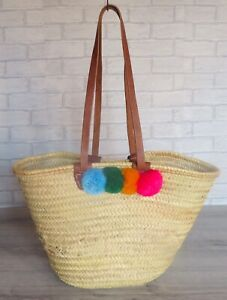 Moroccan Handmade Straw Tote Basket