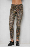 NWT Pacsun Women's Distressed Ripped Leopard Mid-Rise Skinny Denim Jeans (P50)