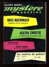 MYSTERE-MAGAZINE n°160 Ross MACDONALD  Fredric BROWN  John COLLIER mai 1961 OPTA