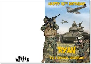 Army Soldier Birthday Card PERSONALISED Military Tank Battle Name Age & Relation