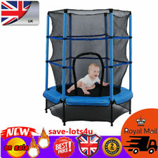 """55"""" Junior Trampoline Set 4.5FT With Safety Net Enclosure Kids Outdoor Toy Blue"""