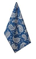Sapphire Paisley Blue & White Print Cotton Kitchen Towel or Dish Towel Split P