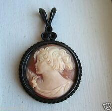 Fabulous Extasia Signed Carved Shell Cameo Pendant