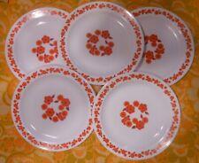 lot de 5 assiettes plates  vintage   Arcopal  LOTUS orange  1970