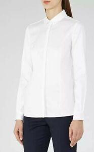 REISS Harper White Cotton Shirt UK 12 Classic Cut Tailored Long Slvs Career Work