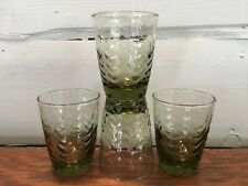 """Set of 4 Vintage Green Glass Wave Pattern Juice Glasses Tumblers 3 3/8"""" tall"""