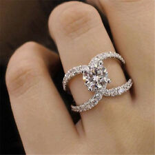 925 Silver White Topaz Women Jewelry Wedding Fashion Engagement Ring Sz 6-10