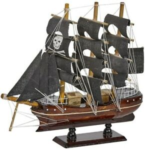 """Wooden Pirate Ship Nautical Model 8"""" Black Sails (ship is assembled)"""