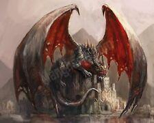 Quadro legno 50 x 40 cm stampa in alta qualità fantasy drago custode castello