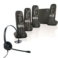 Cordless Phone Gigaset E630A 4 Handsets w Answer Machine and Corded Headset QUAD