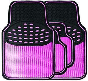 Pink Mat Set Metallic Anti-Slip Car Mats - Heavy Duty - Easy Clean