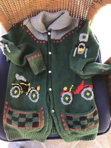Boys Estate Vintage Handmade Knitted Antique Cars Sweater Jacket  Cardigan 6-10