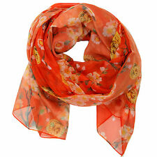 Bucasi Cherry Blossom floral scarf in Orange Red SF195