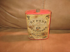 Dupont Superfine Ffg Gunpowder Wilmington Delaware paper label Tin