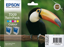 New Genuine Twin Epson T009 Color Ink Cartridges, Stylus Photo 1270