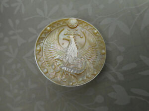 """Carved EAGLE & SCORPION Scorpio Symbol Pearl New Smoky MOP Button 1-1/2"""" NP"""