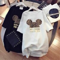 Women Loose Summer T-shirt Minnie Mickey Mouse Plus Size Short Sleeve Fashion