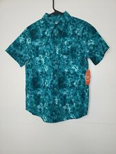 New with Tags Wonder Nation Boys Button Front Shirt Large 10-12 Green Floral