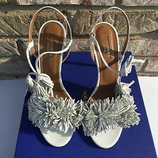 Aquazzura Wild Thing 105 Fringe Wedding Leather Sandals Heels White Size 38