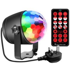LED Disco Stage Light Sound Activated Magic Crystal Ball Rotate RGB Party Remote